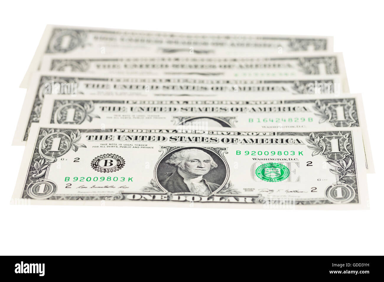USA one dollar banknotes - Stock Image