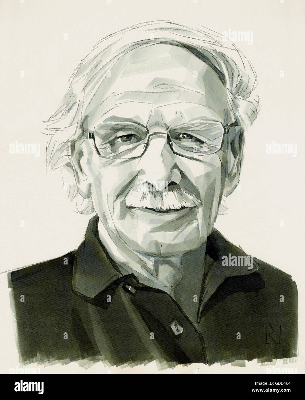 Rizzolatti, Giacomo, * 28.4.1937, Italian scientist (neurophysiologist), monochrome drawing by Jan Rieckhoff, 6.8.2007, - Stock Image