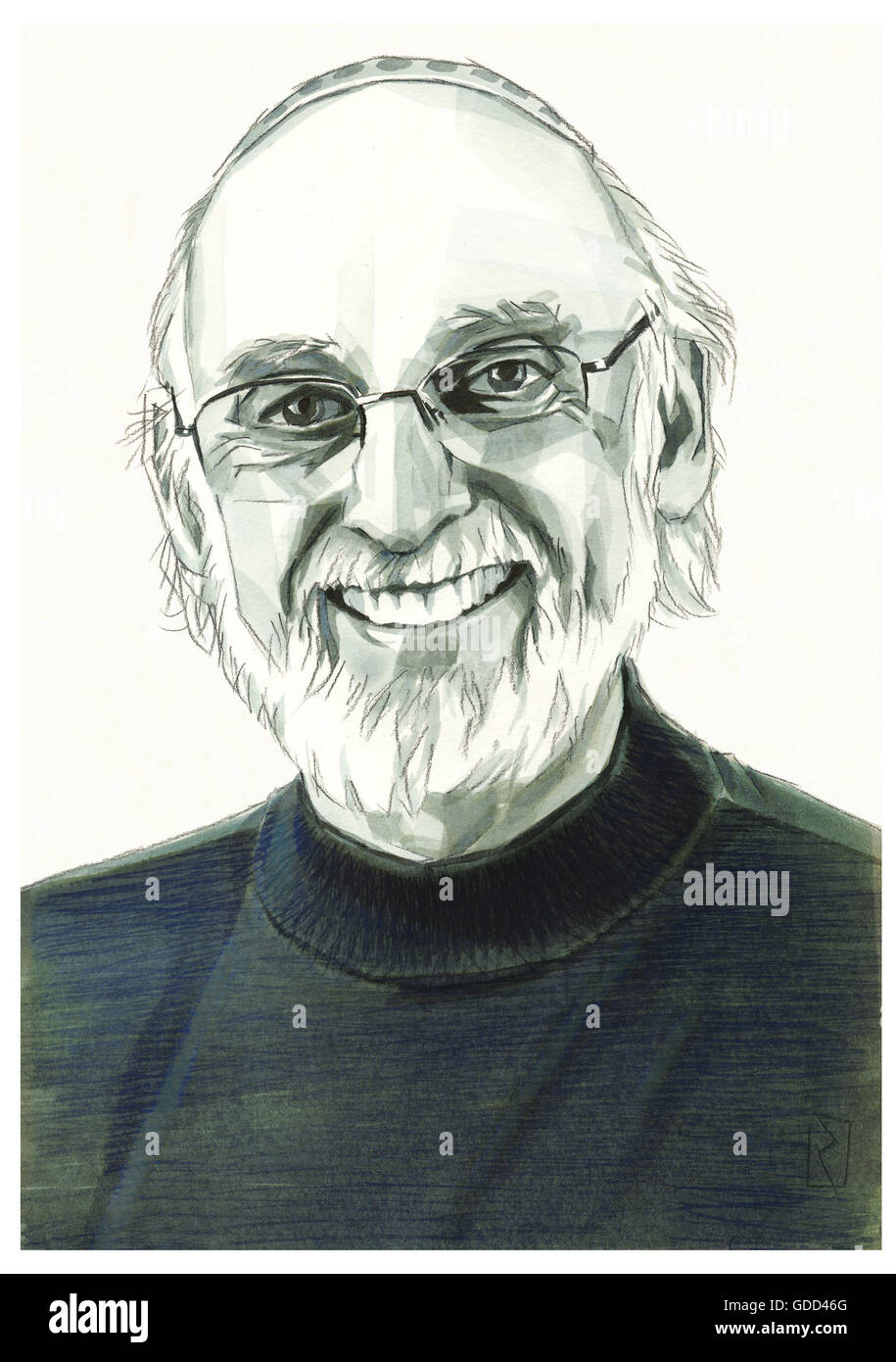 Gottman, John Mordechai, * 1942, American scientist (psychologist), portrait, monochrome drawing by Jan Rieckhoff, - Stock Image