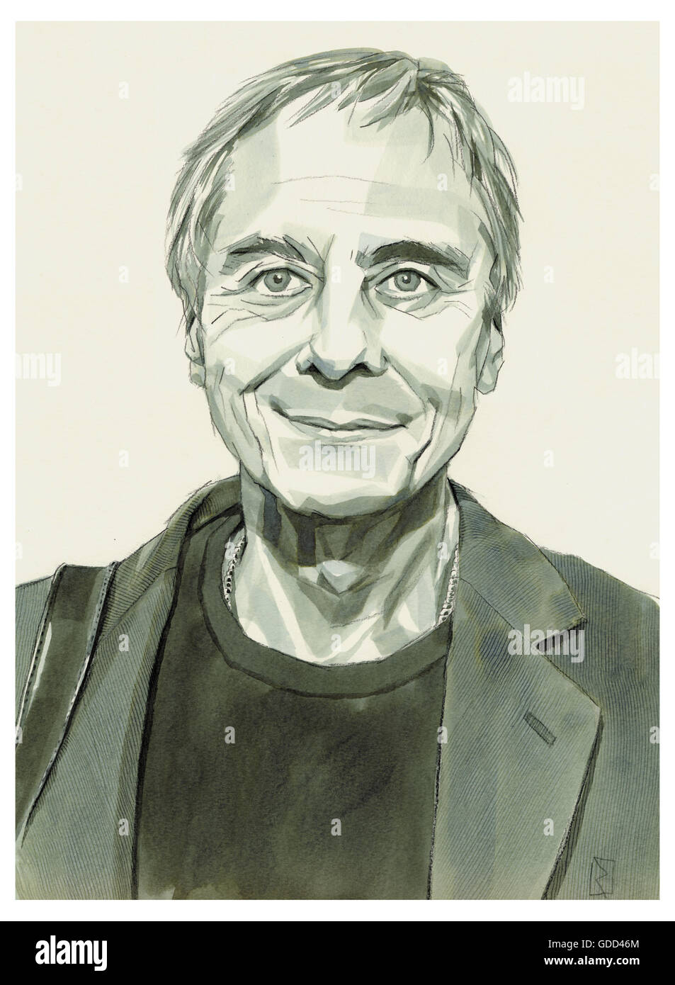 Neumeier, John, * 24.2.1942, American choreographer, portrait, monochrome drawing by Jan Rieckhoff, 16.10.2007, - Stock Image