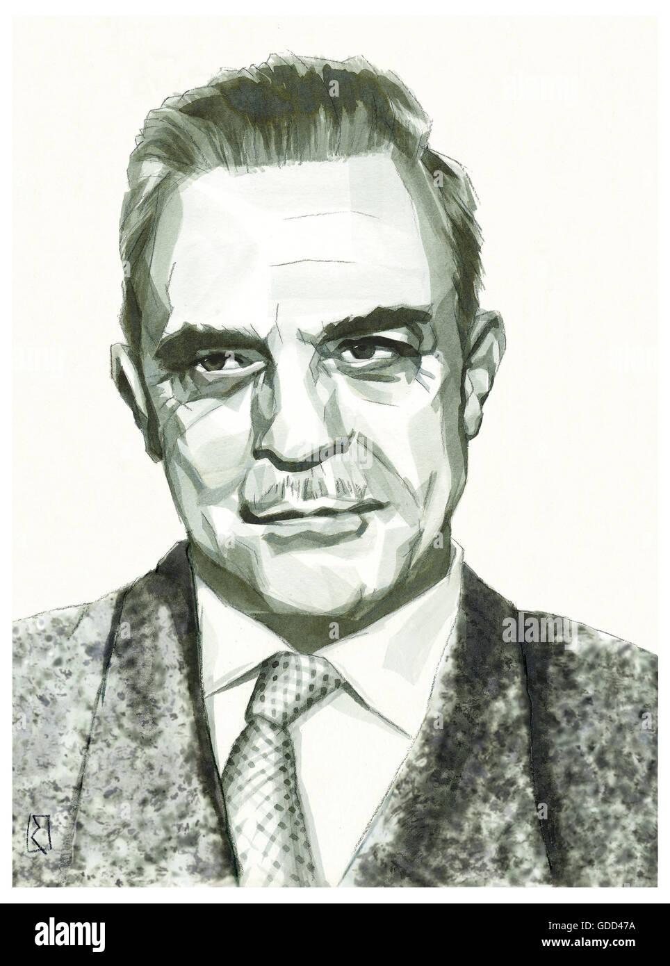 Erickson, Milton H., 5.12.1901 - 25.3.1980, American medic / physician (psychiatrist), portrait, monochrome drawing Stock Photo