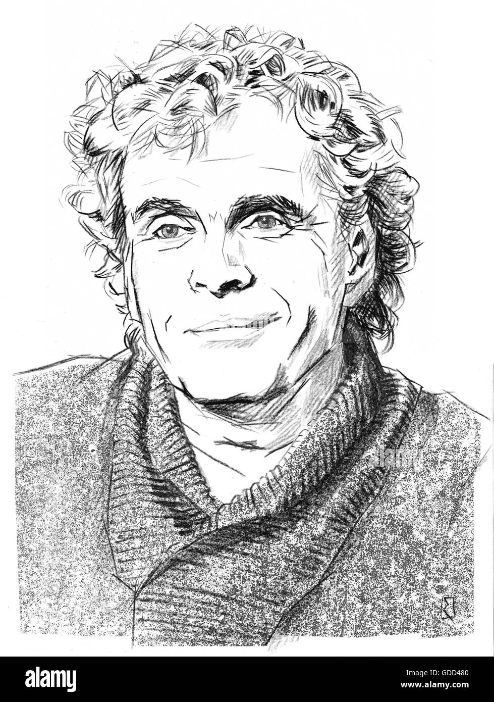 Rattle, Simon, * 19.5.1955, British musician (conductor), portrait, black-white drawing by Jan Rieckhoff, 15.1.2012, - Stock Image