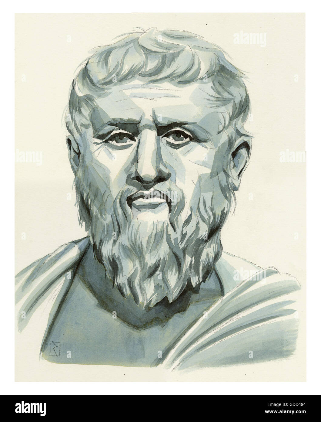 Platon, 427 - 347 vChr., Greek philosopher, portrait, monochrome drawing by Jan Rieckhoff, 20.6.2007, Artist's - Stock Image