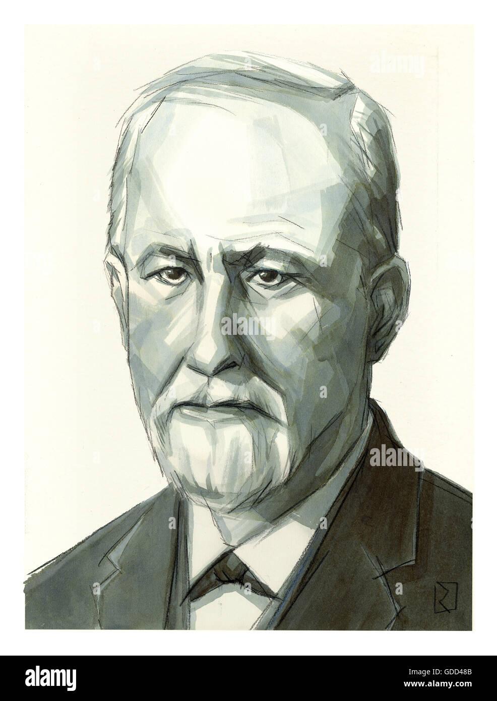 Freud, Sigmund  6.5.1856 - 23. 9.1939, Austrian medic / physician (medical doctor), portrait, monochrome drawing - Stock Image