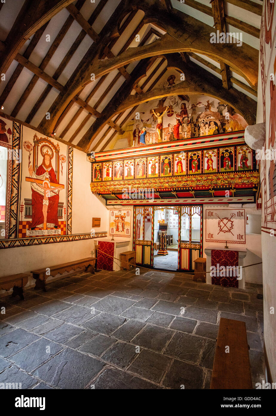 St Teilo's church at St Fagan's National History Museum in Cardiff South Wales UK painted as it may have - Stock Image