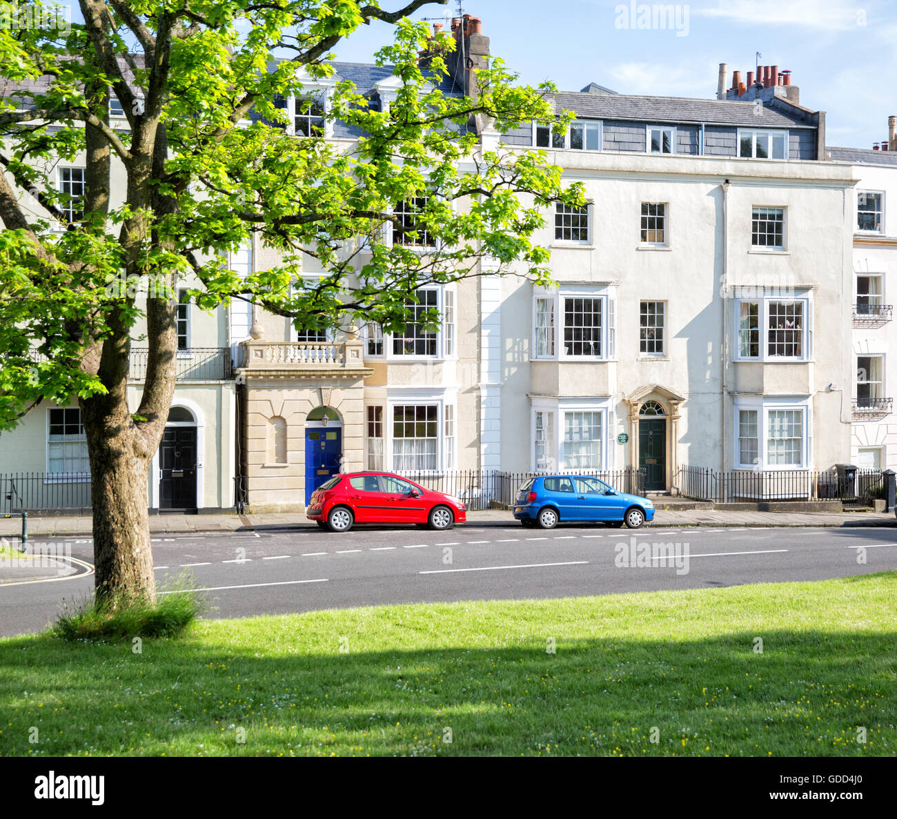 Elegant Georgian houses including Mrs Thrale Dr Johnson's friend's house on Sion Hill Clifton Bristol UK - Stock Image