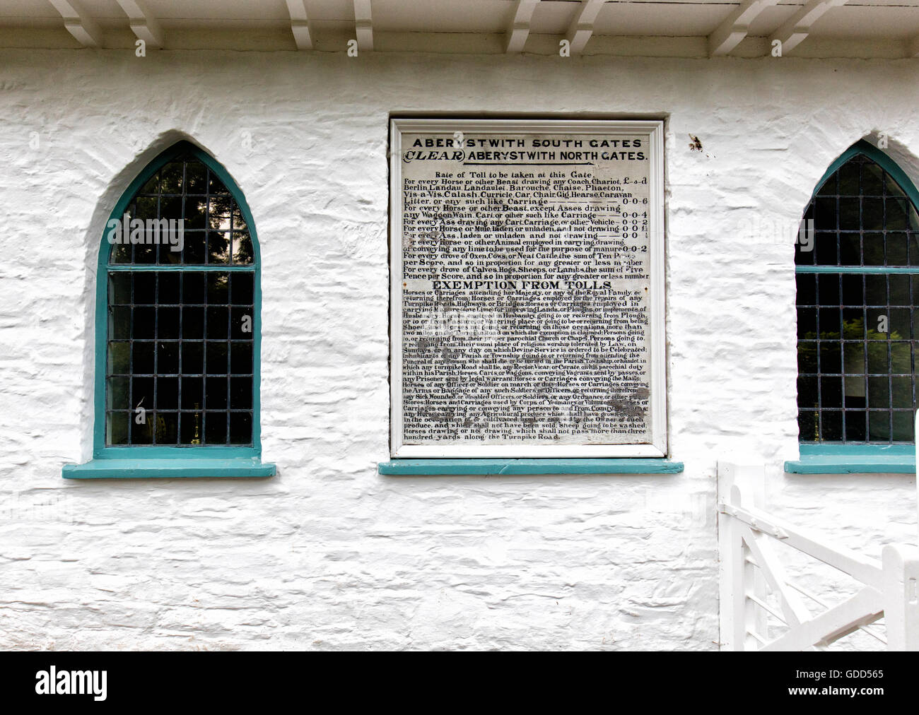 Rules and fees notice on reconstructed Aberystwyth South Gates Toll House at St Fagan's National History Museum - Stock Image