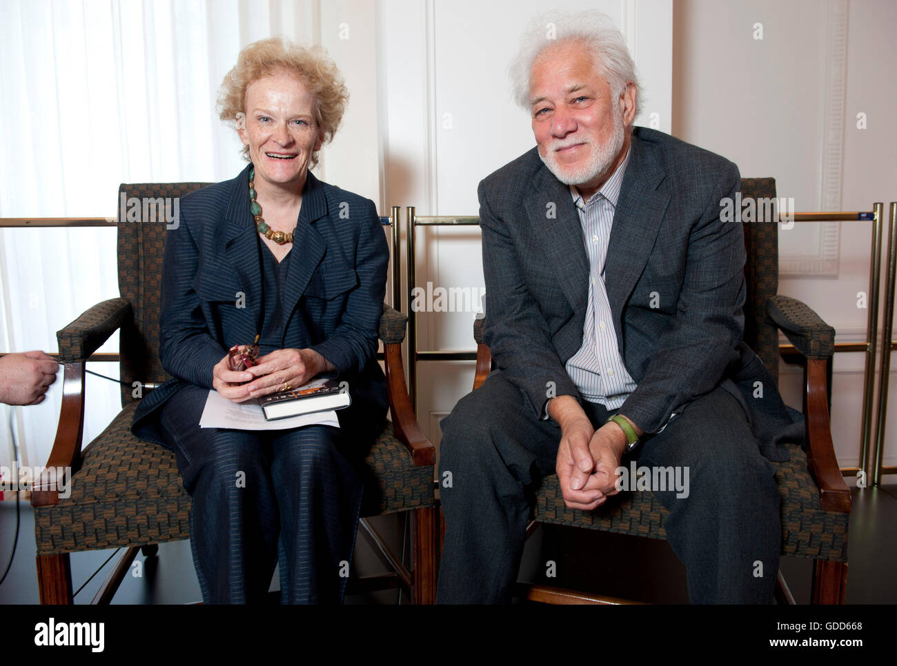 Royal Society of Literature acclaimed author Michael Ondaatje in conversation with Fiammetta Rocco at newly refurbished - Stock Image