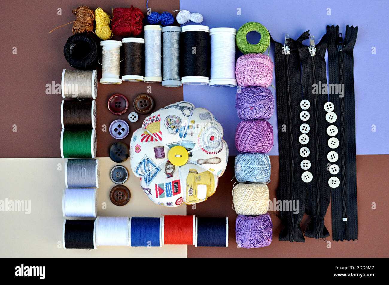 pincushions and sewing articles - Stock Image