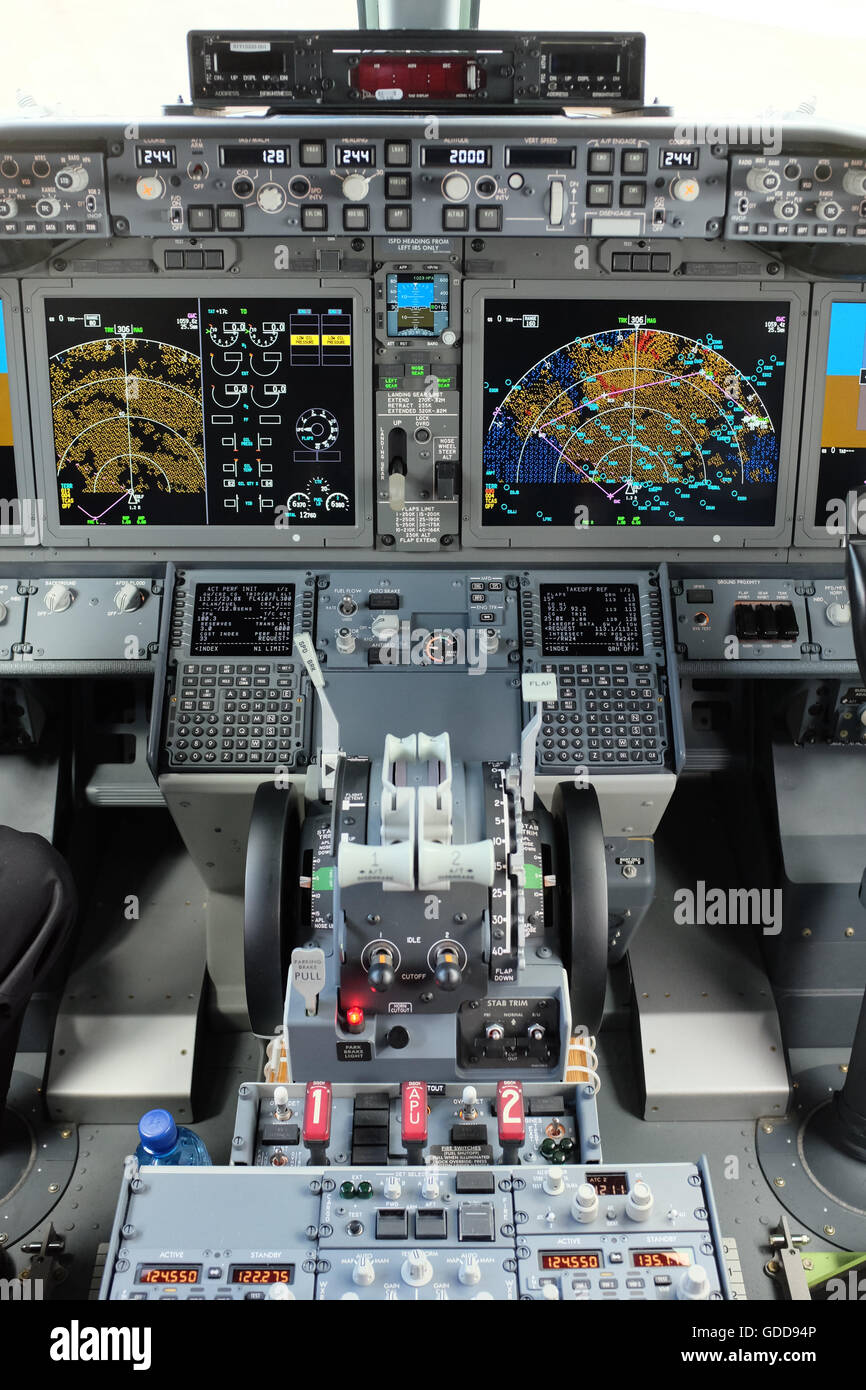 The cockpit of the Boeing 737 Max 8 aircraft. - Stock Image