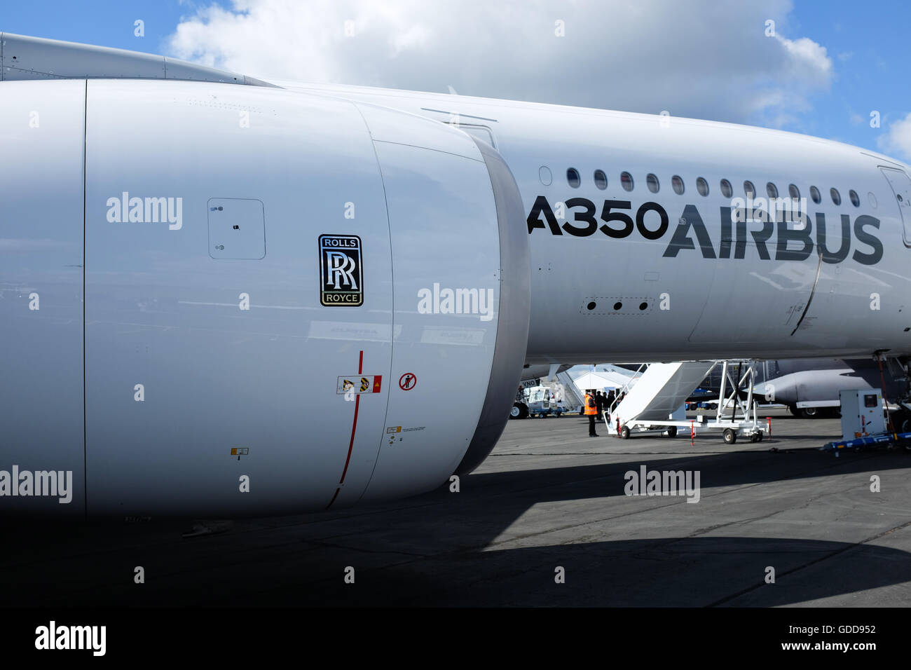 An Airbus A350 with Rolls-Royce engines. - Stock Image