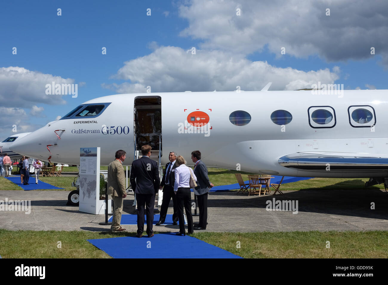 A Gulfstream G500 private jet on show at the Farnborough Airshow near London, England, in 2016. - Stock Image