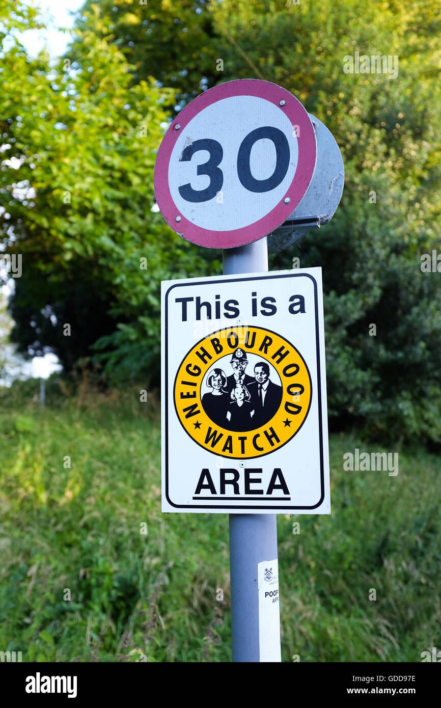 A 'neighbourhood watch' sign in England. - Stock Image