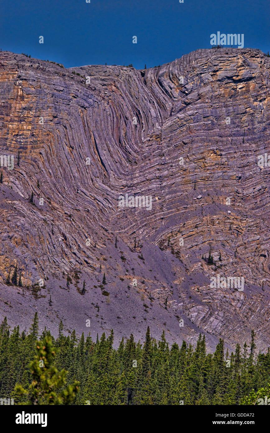 anticline geologic formation along alaska highway,yukon,canada - Stock Image