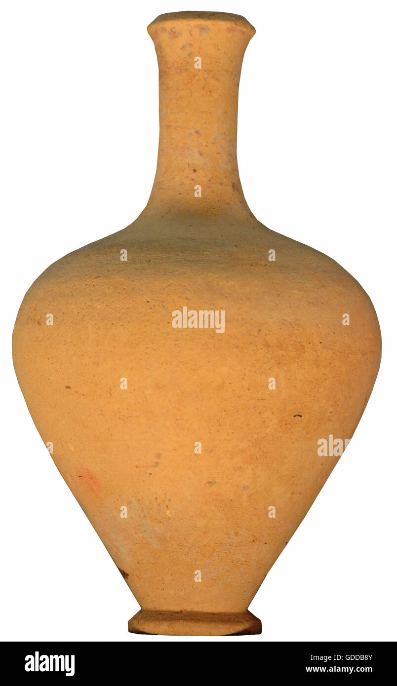 Elegant ancient greek vase from before the 5th century BC. Isolated against a white background - Stock Image
