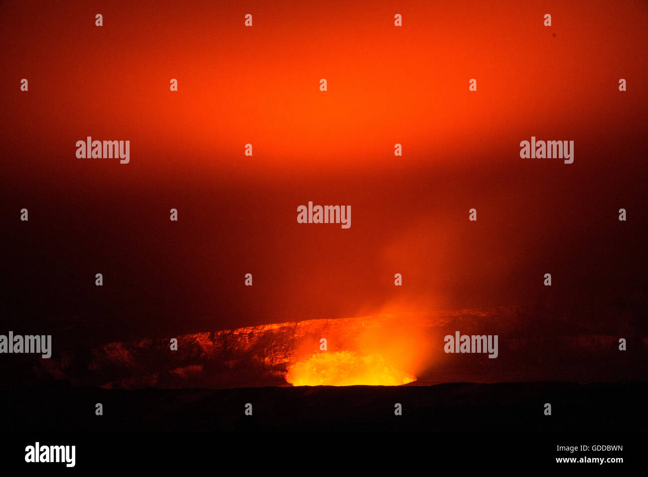 Big Island,Kilauea,volcano,Caldera,Vulcanoes,National Park,Big Island,USA,Hawaii,America,Volcanical,lava, - Stock Image
