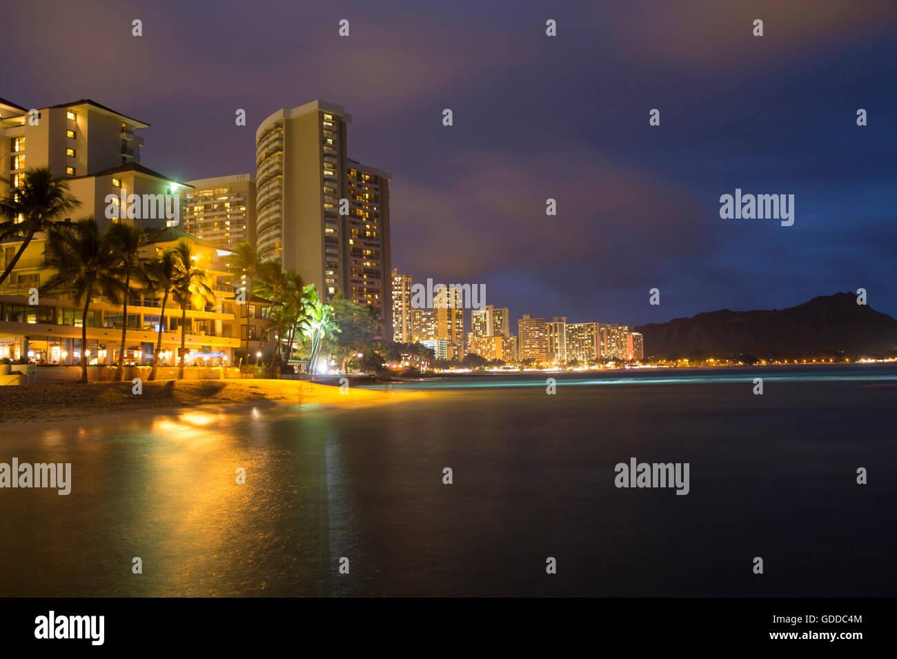 Honolulu,Oahu,capital,Waikiki Beach,USA,Hawaii,America,town,city,evening, - Stock Image