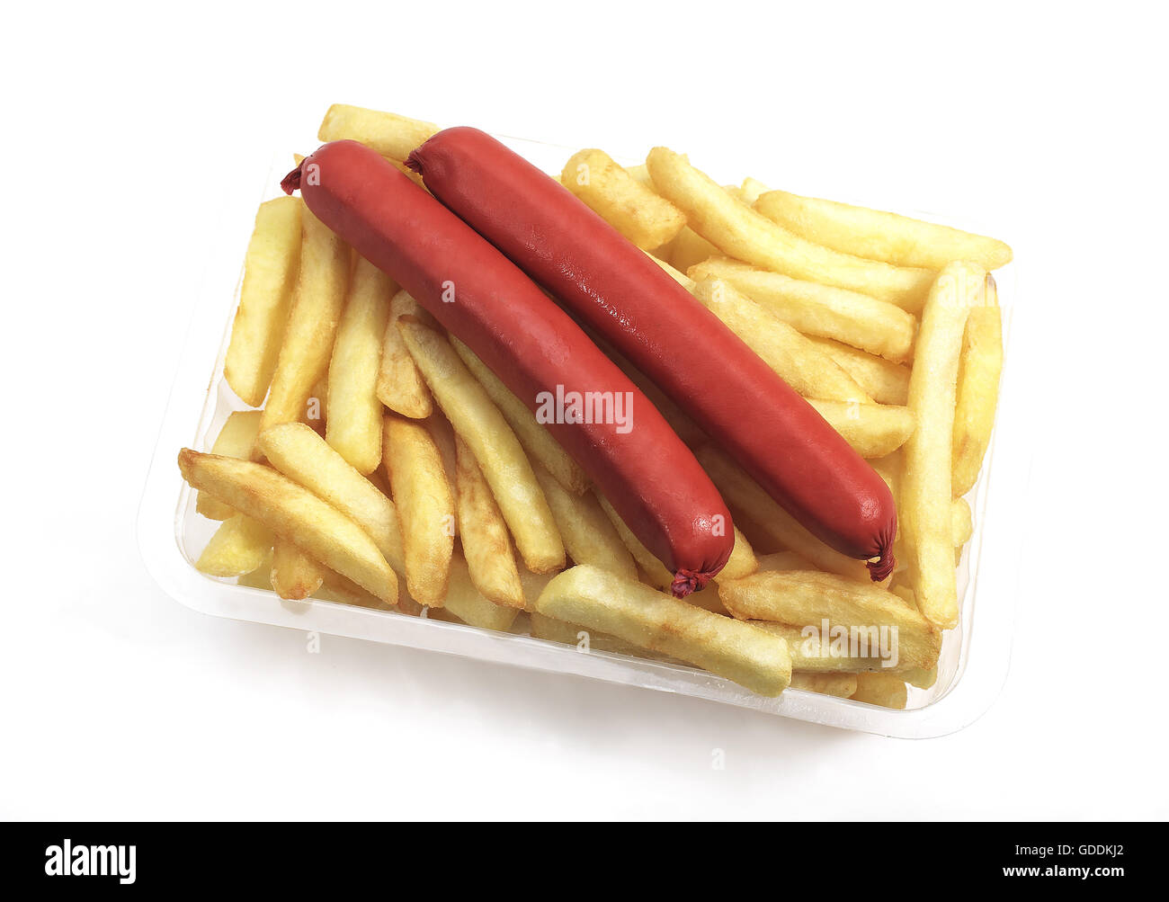 Sausage and French Fries against White Background - Stock Image
