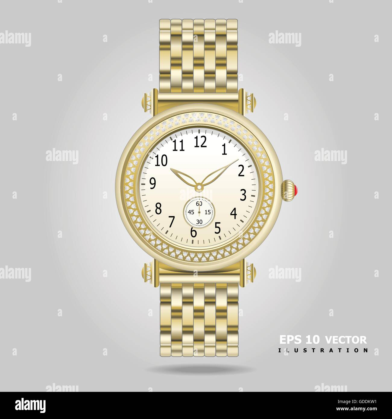 Golden watch with diamonds vector illustration. - Stock Image