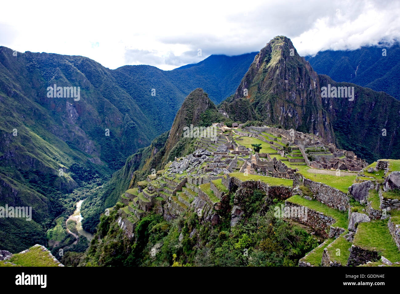 Machu Picchu, the Lost City of the Incas in Peru - Stock Image