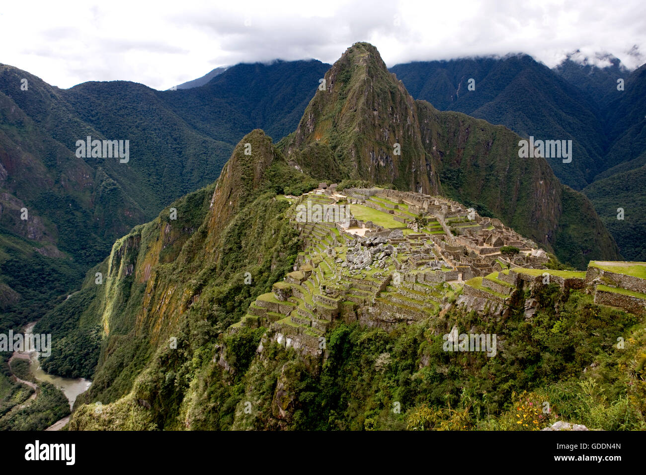 Machu Picchu, The Lost City of the Incas, Andean Cordillera in Peru - Stock Image
