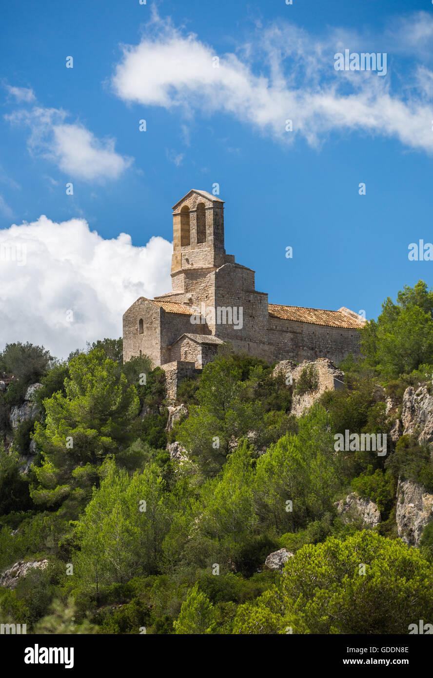 Spain,Catalonia,Barcelona province,San Miguel Church,Olerdola Castle - Stock Image