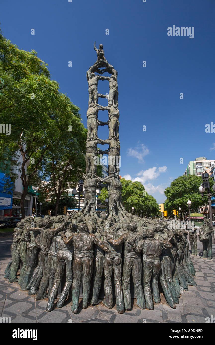 Spain,Catalonia,Tarragona City,Ramblas Avenue,Castellers Monument - Stock Image