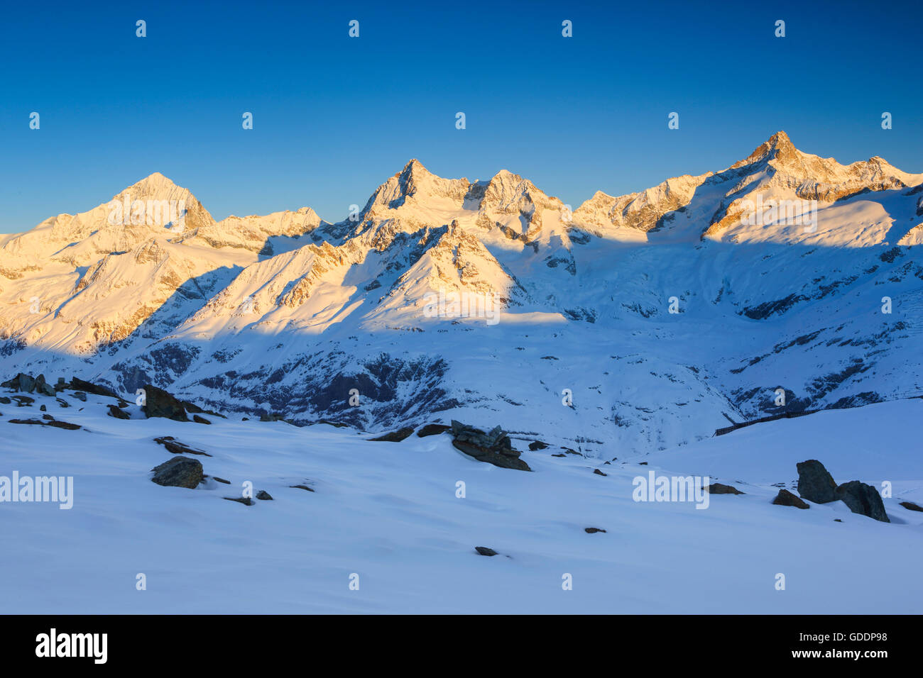 Dent Blanche - 4357 ms,Ober Gabelhorn - 4063 ms,Zinalrothorn - 4221 ms,Valais,Switzerland Stock Photo