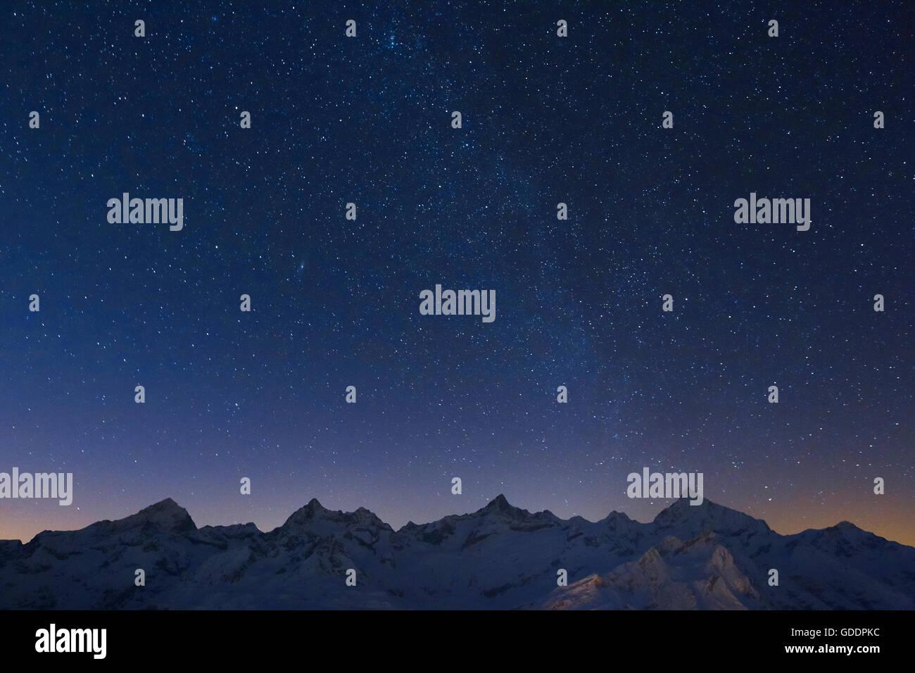 Dent Blanche,Ober Gabelhorn,Zinalrothorn,Weisshorn,Valais,Switzerland Stock Photo