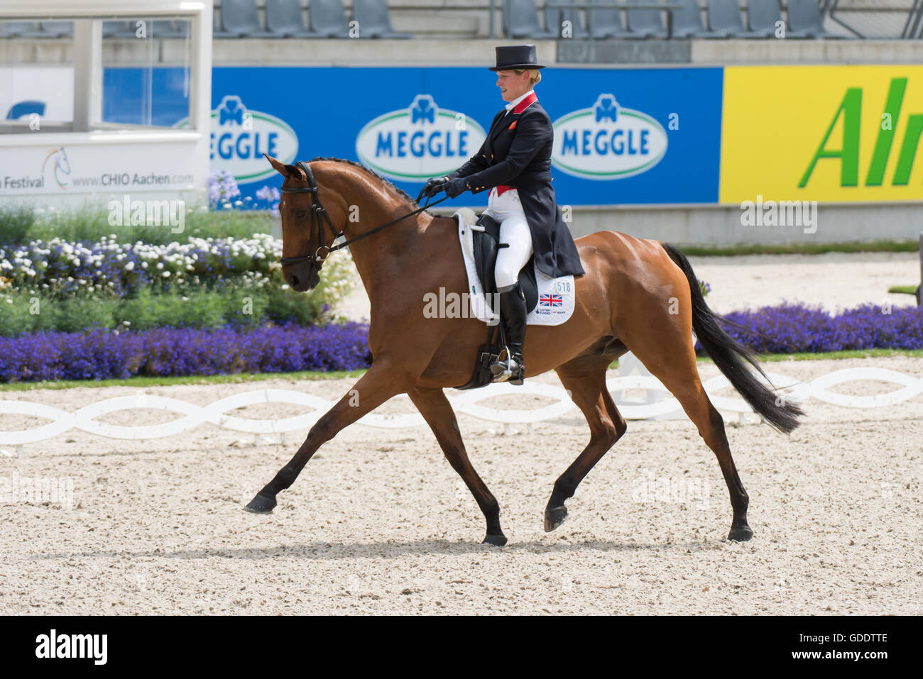 Aachen, North Rhine-Westphalia, Germany, 15th July 2016, Zara Tindall and her horse High Kingdom take part in the Stock Photo