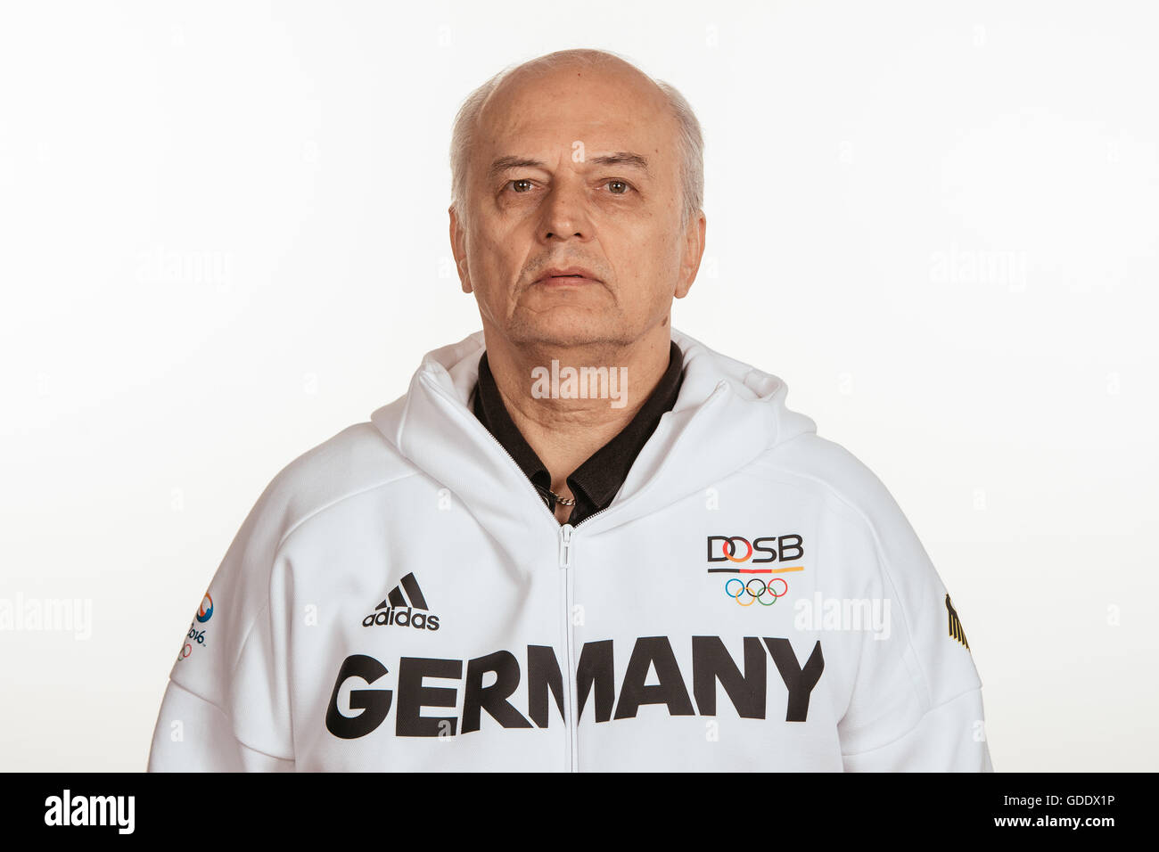 Vladimir Komkov poses at a photocall during the preparations for the Olympic Games in Rio at the Emmich Cambrai - Stock Image