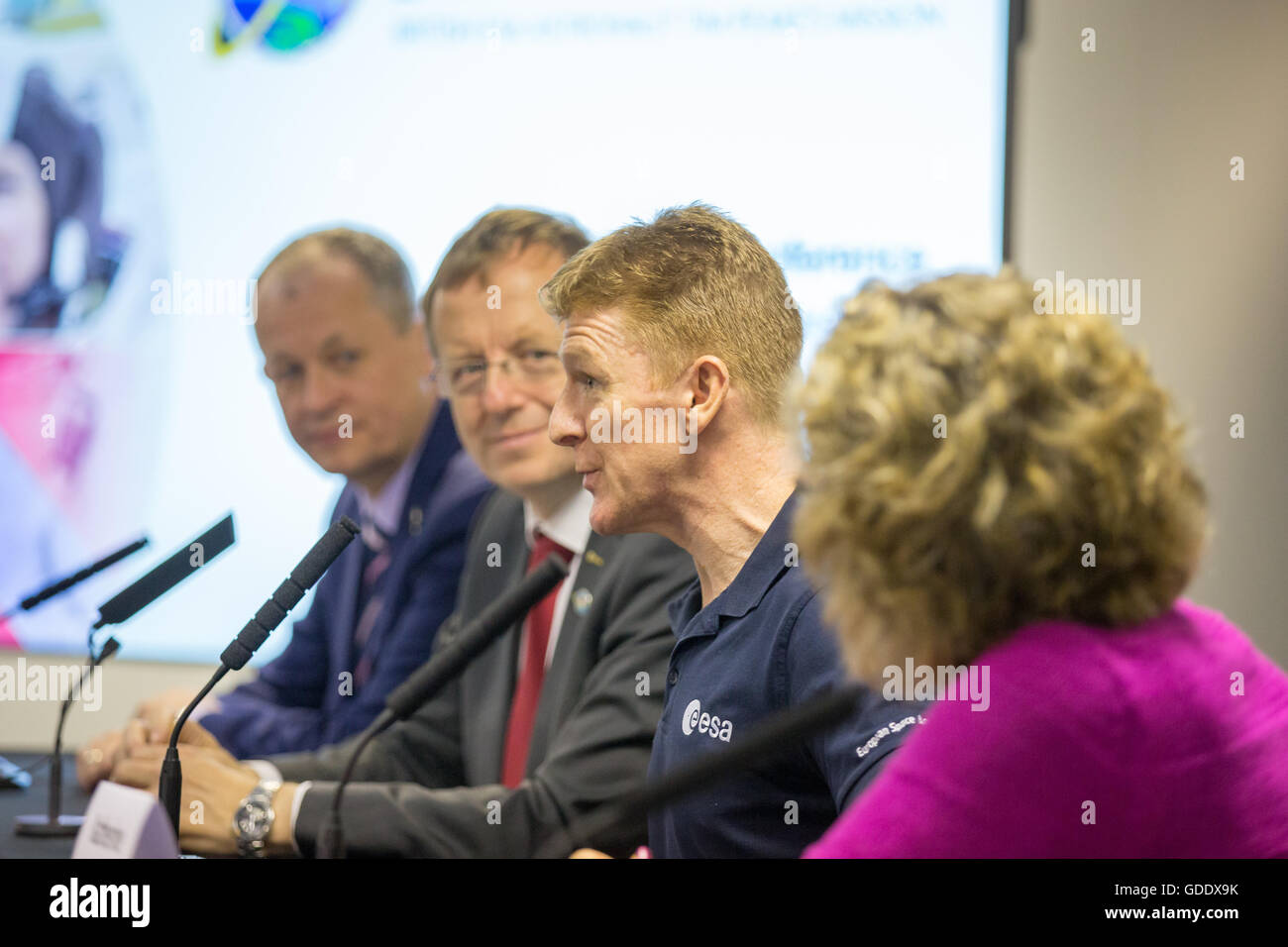Farnborough, Hampshire UK. 15th July 2016. Astronaut Tim Peake speaks at his first UK press conference since landing. - Stock Image