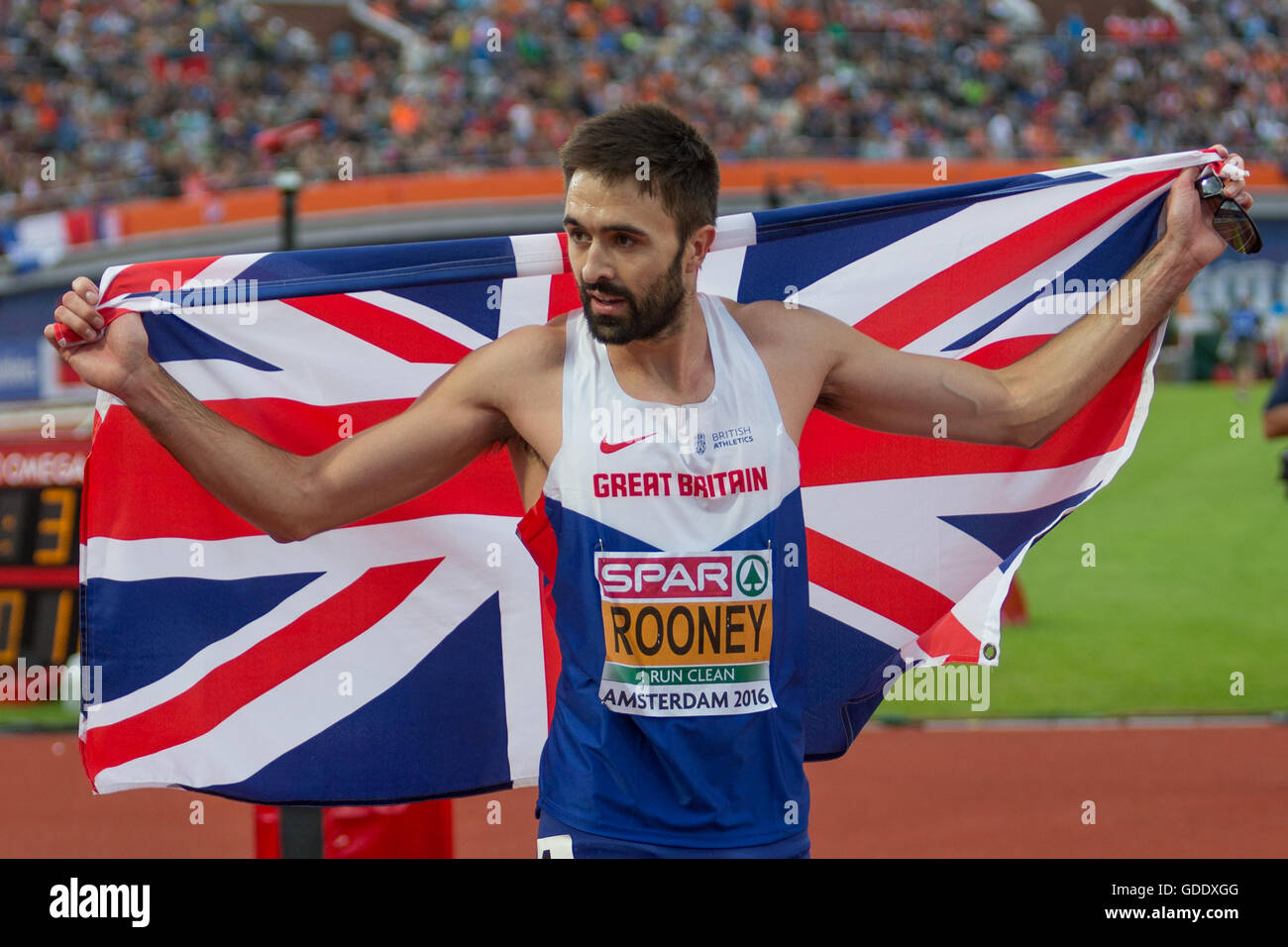 91cb4c29119 Amsterdam, Holland. 09th July, 2016. The European Athletics Championships.  Martyn Rooney (GBR) 400 metes winner © Action Plus Sports/Alamy Live News