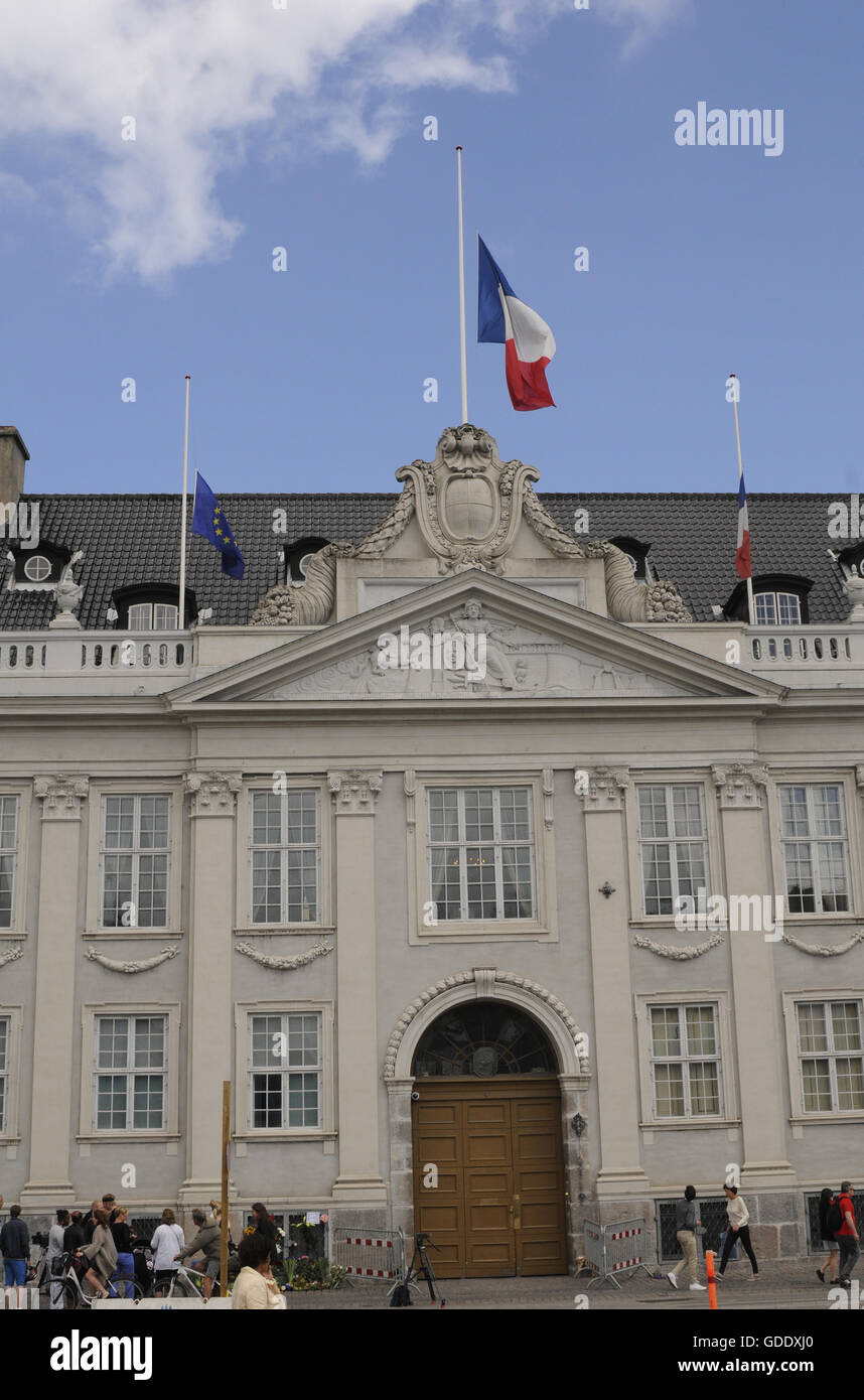 Copenhagen, Denmark. 15th July, 2016.French and European union flags half mast at French Embassy in Copenhagen Denmark - Stock Image