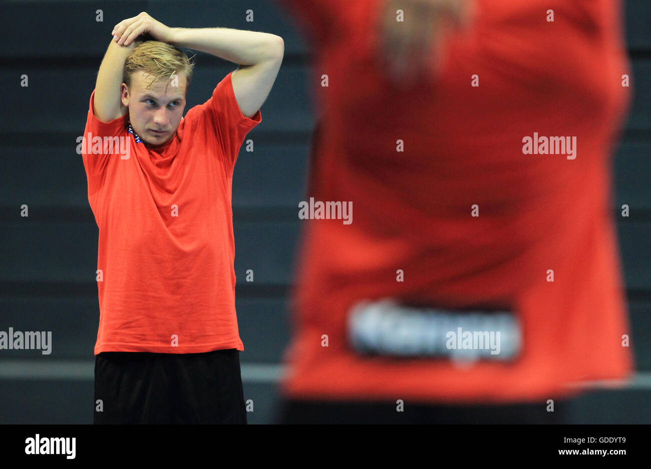 Magdeburg, Germany. 15th July, 2016. Daniel Pettersson (L), new recruit from Sweden for the German Bundesliga handball Stock Photo