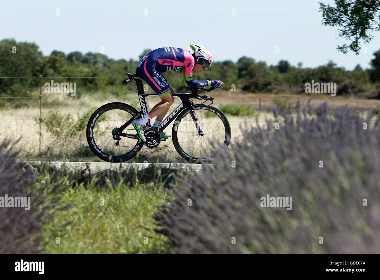 France. 15th July, 2016.  MEINTJES Louis (RSA)  of LAMPRE - MERIDA during stage 13 (time trial) of the 2016 Tour - Stock Image