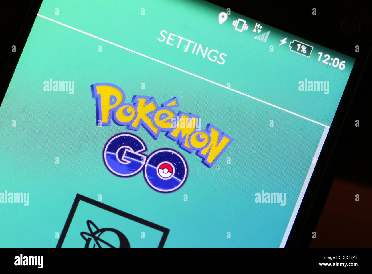 Velika Gorica, Croatia. 15th July, 2016. : Macro close up image of Pokemon Go game app logo on the smartphone. Pokemon Go is a free-to-play augmented reality mobile game developed by Nintendo. Credit:  PhotoJa/Alamy Live News Stock Photo