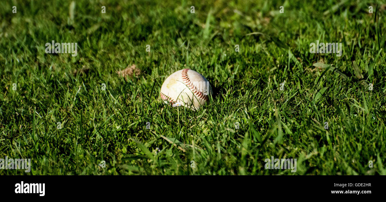 Gijon, Spain. 15th July, 2016. A well-worm baseball during the baseball match of round of U18 European Championship - Stock Image