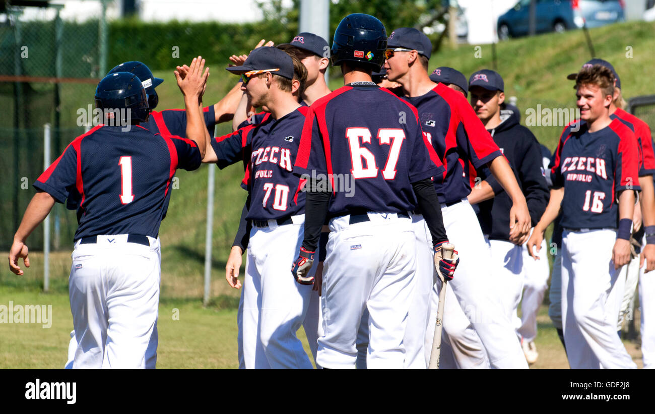 Gijon, Spain. 15th July, 2016. Czech players celebrate their first run during the baseball match of round of U18 - Stock Image