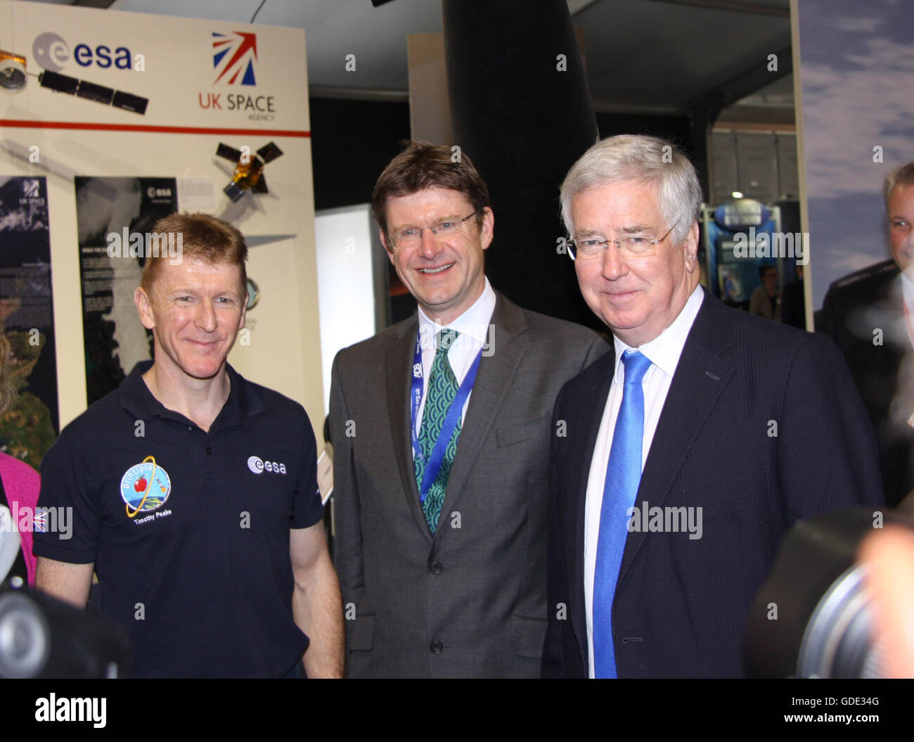 Tim Peake Astronaut, Greg Clark MP minister for 'Business Energy & Industrial Strategy', Michael Fallon - Stock Image