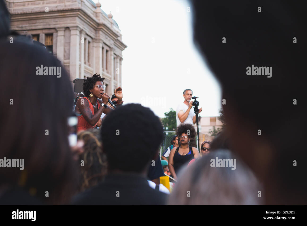 Texas, USA. 15th July, 2016. Black Lives Matter Protest in front of Texas Capitol Building Credit:  Corey Mendez/Alamy - Stock Image
