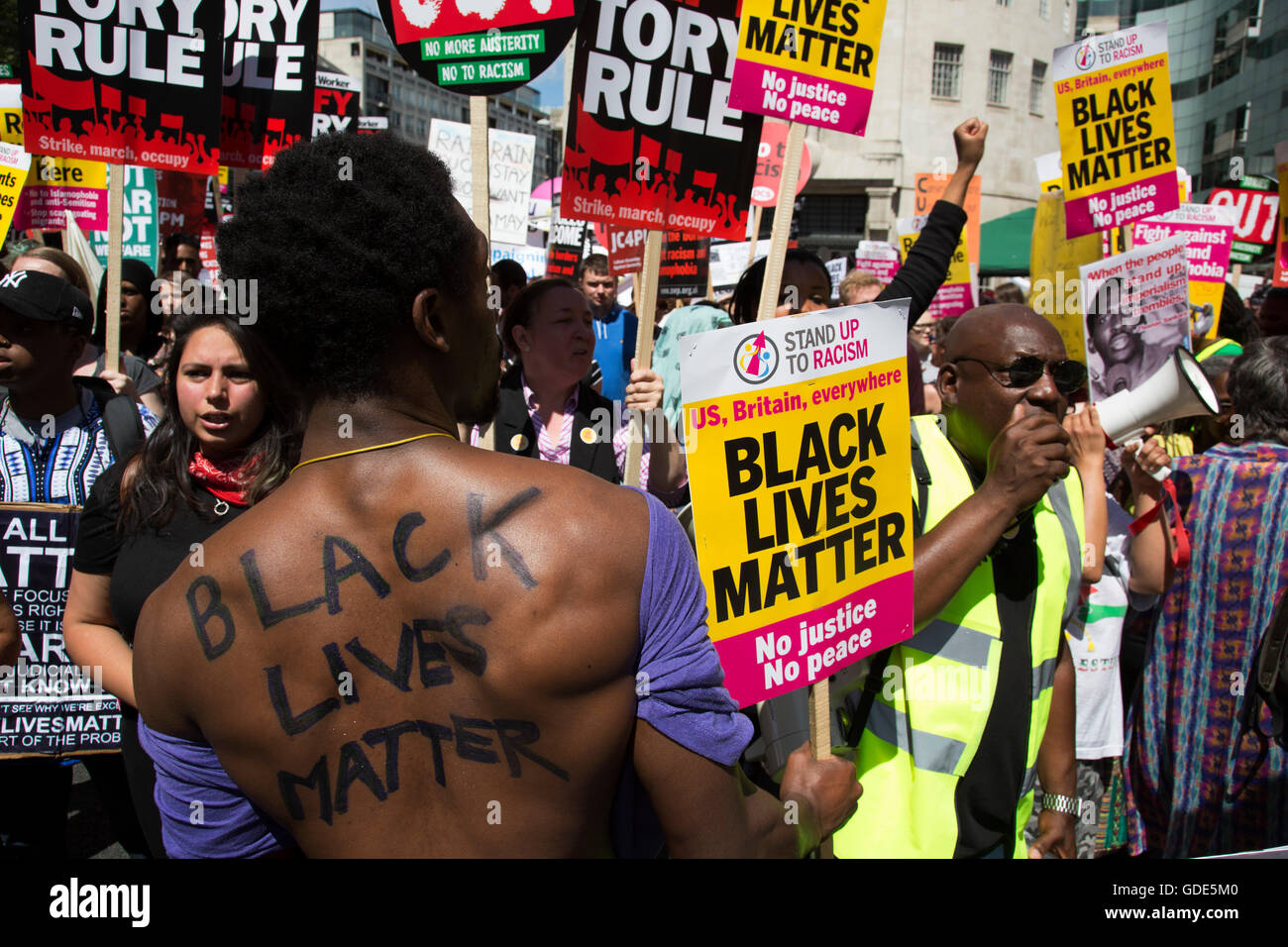 London, UK. 16th July, 2016. Black Lives Matter supporters at the Peoples Assembly demonstration: No More Austerity - Stock Image