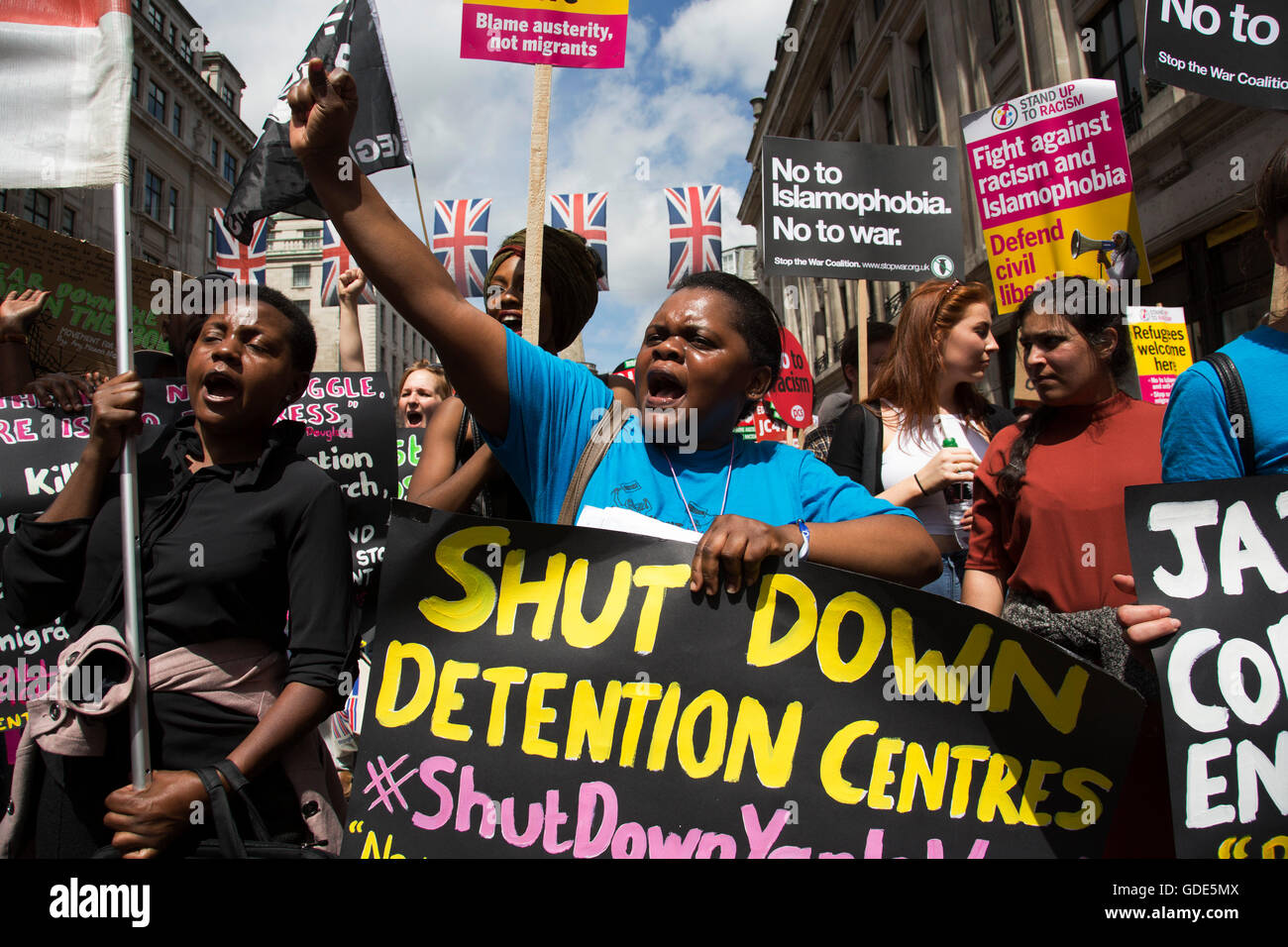 London, UK. 16th July, 2016. Black Lives Matter supporters calling for a shut down of detention centres at the Peoples - Stock Image