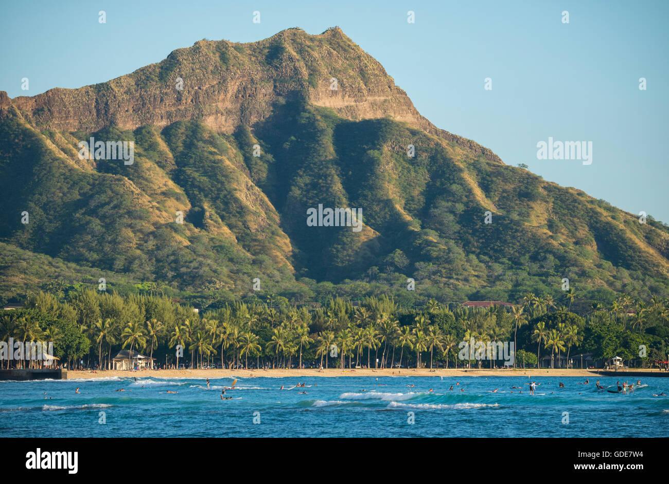 USA,Hawaii,Oahu,Honolulu,Waikiki,Diamond Head - Stock Image