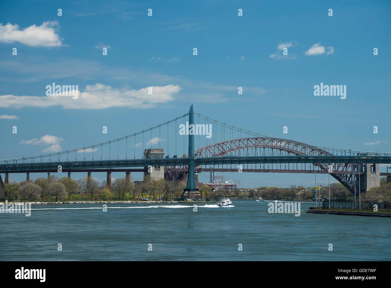 USA,New York,Manhattan,Upper Eastside,RFK Triborough Bridge,East River - Stock Image