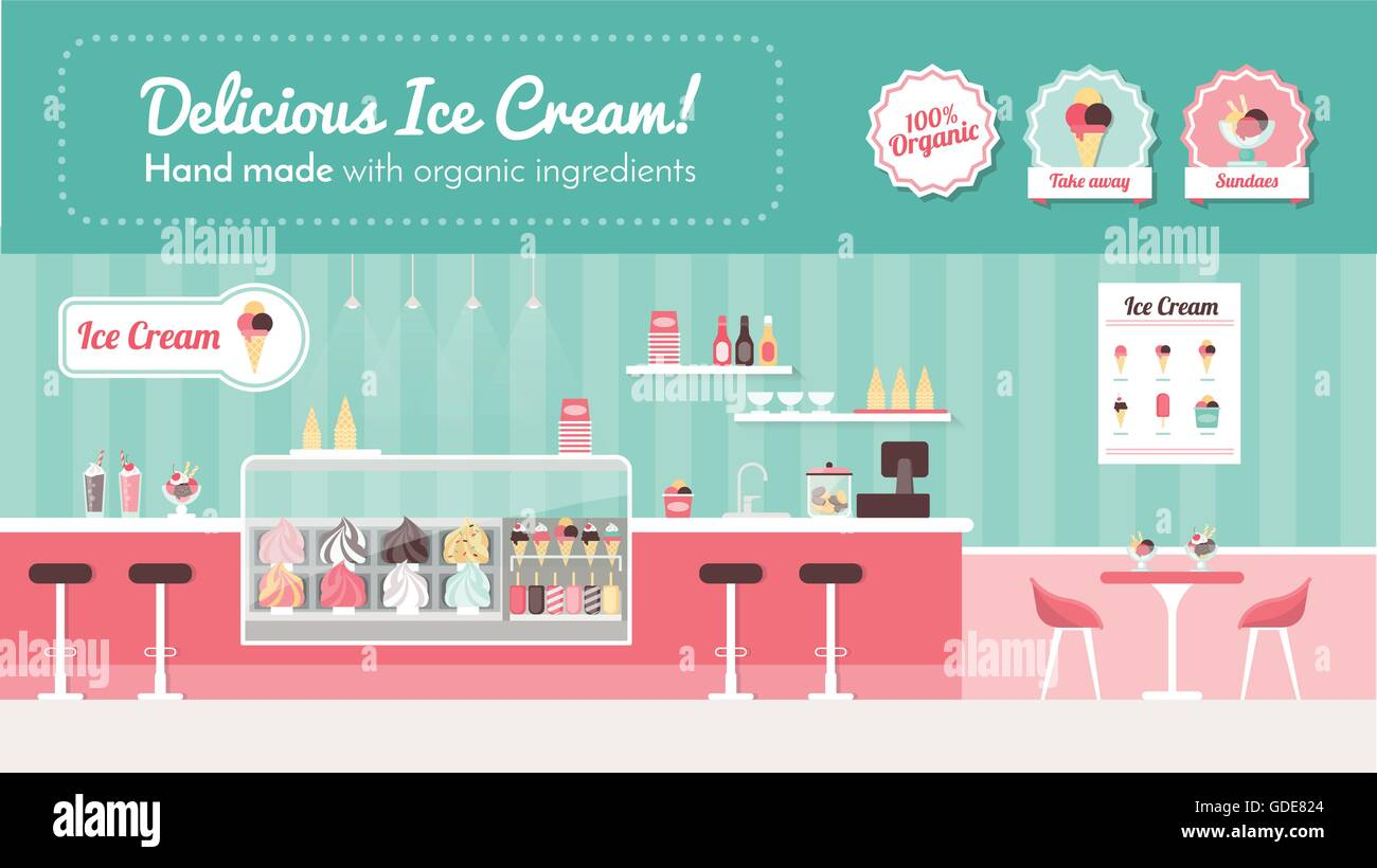 Ice cream parlor banner, shop interior and desserts on display Stock Vector