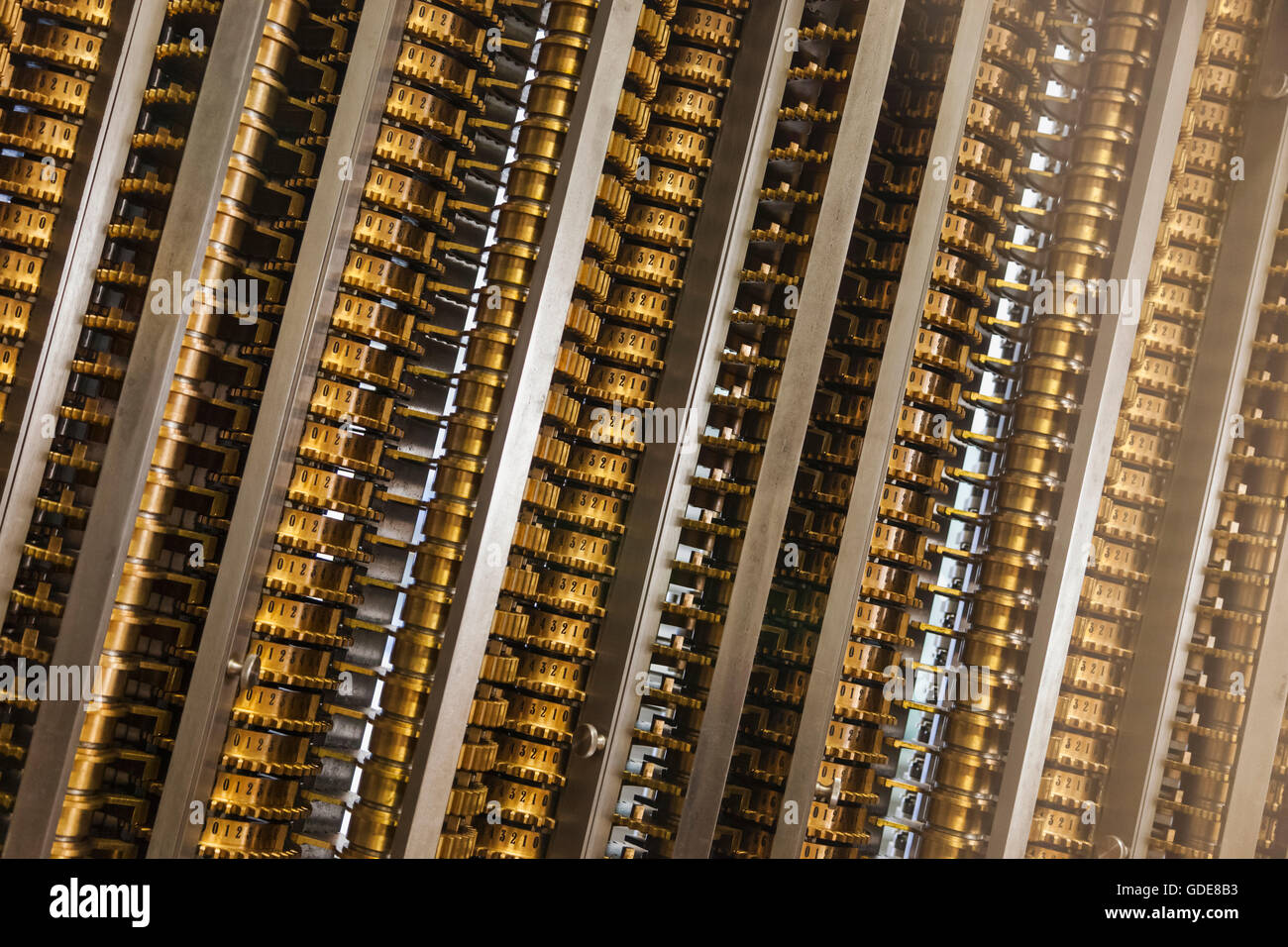 England,London,Kensington,Science Museum,Portion of Charles Babbage's Difference Engine No.2 dated 1847-49 - Stock Image