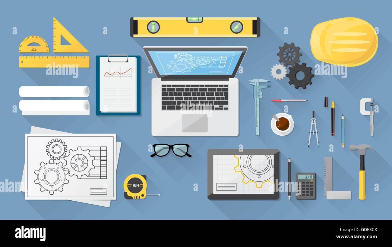 Engineer's desktop with work tools, computer and tablet - Stock Image