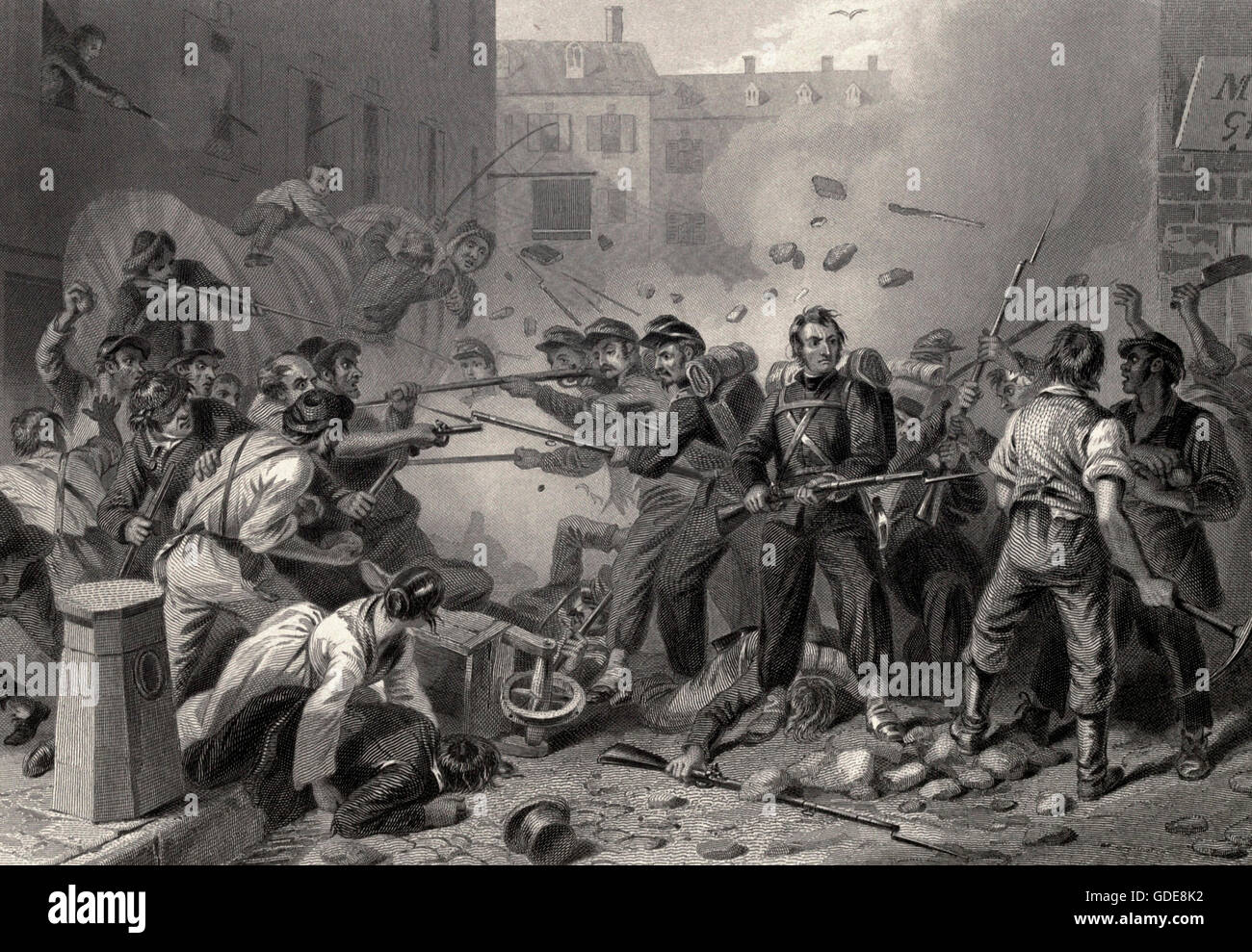 Massachusetts Militia passing through Baltimore, Maryland at the start of the USA Civil War, 1861 - Stock Image