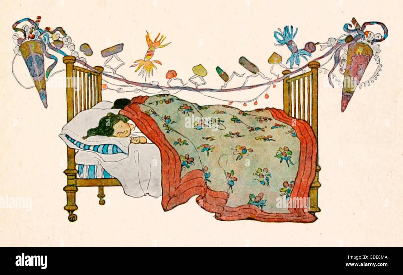 children sleeping on christmas eve night before christmas stock image - How To Go To Sleep On Christmas Eve